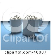 Clipart Illustration Of Scattered White 3d Shopping Bags On A Blue And White Shady Background