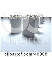 Clipart Illustration Of Scattered White 3d Shopping Bags On A Background With Shading