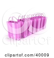 Clipart Illustration Of A Line Of 3d Pink Shopping Bags