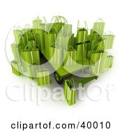 Clipart Illustration Of Green 3d Shopping Bags On A Pallet Truck