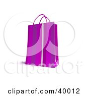 Clipart Illustration Of 3d Purple Striped Shopping Bag