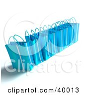 Clipart Illustration Of A Line Of 3d Blue Gift Bags