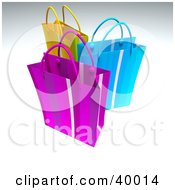 Clipart Illustration Of Three Colorful 3d Gift Bags
