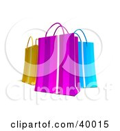 Clipart Illustration Of Three Colorful 3d Shopping Bags