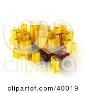 Clipart Illustration Of Yellow 3d Shopping Bags On A Pallet Truck