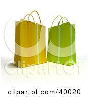 Clipart Illustration Of Two Yellow And Green Striped 3d Gift Bags