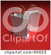 Clipart Illustration Of Two White 3d Gift Bags On A Red Background