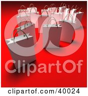 Clipart Illustration Of Scattered White 3d Gift Bags On A Red Background With Shading