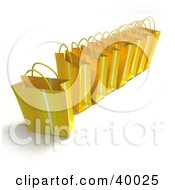 Clipart Illustration Of A Line Of Yellow 3d Gift Bags