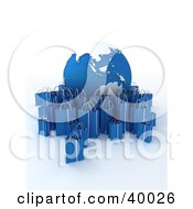Clipart Illustration Of A Blue And White Globe Surrounded By Blue 3d Shopping Bags by Frank Boston