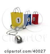 Clipart Illustration Of A Computer Mouse Connected To A Yellow Number 1 Bag On Wheels With Two Other Bags by Frank Boston