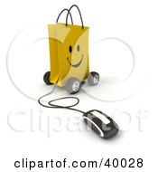 Clipart Illustration Of A Computer Mouse Connected To A Smiling Yellow Shopping Bag On Wheels