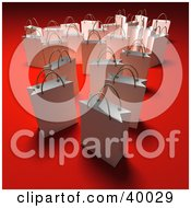 Clipart Illustration Of Scattered White 3d Shopping Bags On A Red Background With Shading