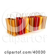 Clipart Illustration Of A Line Of Red And Orange 3d Gift Bags