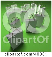 Clipart Illustration Of Scattered White 3d Shopping Bags On A Green Background With Shading