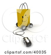 Clipart Illustration Of A Computer Mouse Connected To A Winking Yellow Shopping Bag On Wheels by Frank Boston