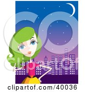 Clipart Illustration Of A Fashionable Lady With Green Hair Standing In Front Of A City Skyline