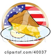 Slice Of Apple Pie In Front Of A Circular American Flag
