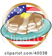 Clipart Illustration Of A Stack Of Flapjacks With Maple Syrup And Butter In Front Of A Circular American Flag by Maria Bell