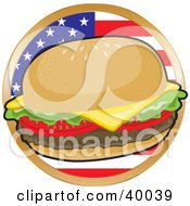 Clipart Illustration Of A Fast Food Cheeseburger In Front Of A Circular American Flag by Maria Bell
