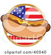 Clipart Illustration Of A Hot Dot In A Bun Garnished With Mustard In Front Of A Circular American Flag