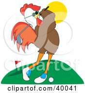 Clipart Illustration Of A Cool Male Rooster In Shades Practicing His Golf Swing At A Course by Maria Bell