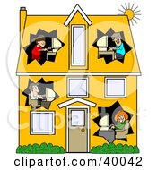 Clipart Illustration Of A Techno Family Working On Their Computers In Different Rooms Of A Two Story House by djart