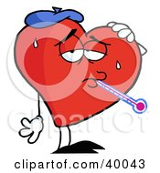 Sweaty Red Heart Sick With The Flu Wearing An Ice Pack A Thermometer Stuck In His Mouth