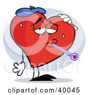 Flu Ridden Red Heart With A Thermometer In His Mouth Wearing An Ice Pack On His Head