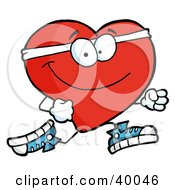 Clipart Illustration Of A Healthy Red Heart Running Past by Hit Toon #COLLC40046-0037