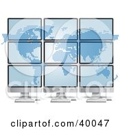 Clipart Illustration Of A Pixel Atlas Spanned Over Nine Computer Monitors by Eugene