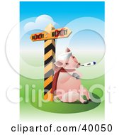 Clipart Illustration Of A Pig Sick With The Swine Flu Resting Against A Quarantine Sign by Eugene