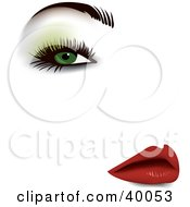 Clipart Illustration Of A Sexy Womans Face With Green Eyeshadow Thick Eyelashes Groomed Brows And Red Lips