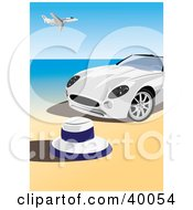 White Convertible Sports Car On A Beach An Airplane Flying Above