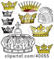 Clipart Illustration Of Royal Black And White And Color Crowns by dero