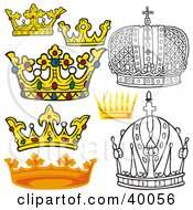 Clipart Illustration Of Black And White And Colored Royal Crowns