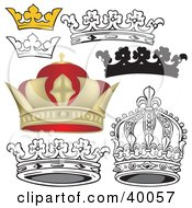 Clipart Illustration Of Black And White And 3d Crowns