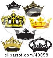 Clipart Illustration Of Heraldic King Crowns