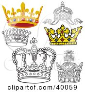 Clipart Illustration Of Six Black And White And 3d Crowns