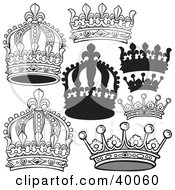 Clipart Illustration Of Elegant Black And White Crowns by dero