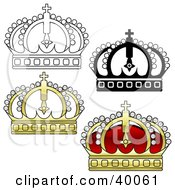 Clipart Illustration Of Red Gold And Black And White Crowns
