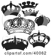 Clipart Illustration Of Silhouetted Black And White Crowns