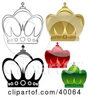 Clipart Illustration Of Gold Red Green And Black And White Crowns