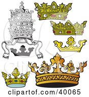Clipart Illustration Of Beautiful Crowns by dero