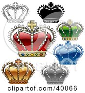 Clipart Illustration Of Gorgeous Colorful Crowns