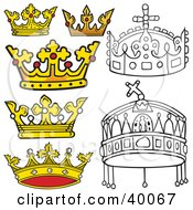 Clipart Illustration Of Golden And Black And White Crowns