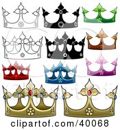 Clipart Illustration Of Jeweled Crowns by dero