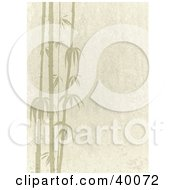 Clipart Illustration Of Beige Stone Textured Background With Silhouetted Bamboo Stalks