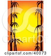 Clipart Illustration Of Stalks Of Black Silhouetted Bamboo On An Orange Sunset Background