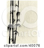 Clipart Illustration Of Stalks Of Black Silhouetted Bamboo On A Beige Stone Background